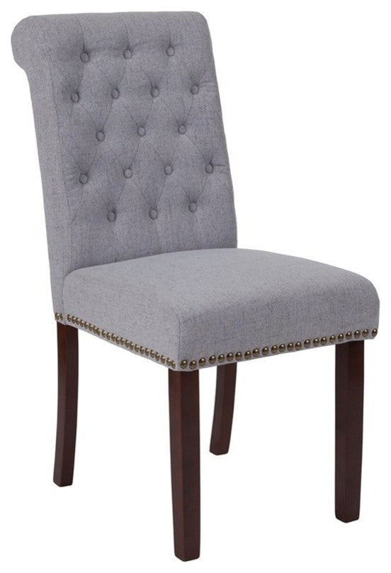 Flash Furniture HERCULES Series Light Gray Fabric Parsons Chair with Rolled Back, Accent Nail Trim and Walnut Finish - Pot Racks Plus