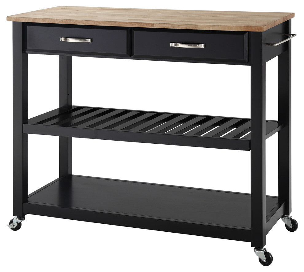 Natural Wood Top Kitchen Cart/Island With Optional Stool Storage, Black Finish - Pot Racks Plus