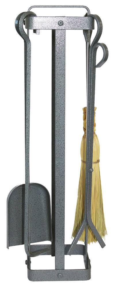 Indoor/Outdoor Square Fireplace Tool Set w/ Handle - Silver Hammered Steel - Pot Racks Plus