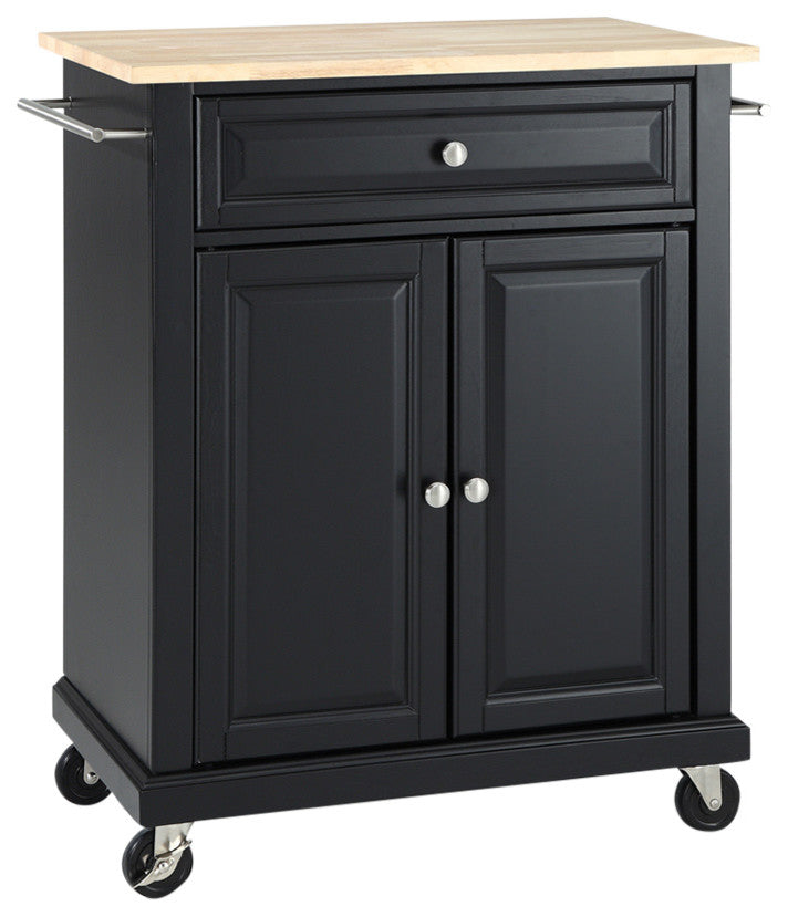 Natural Wood Top Portable Kitchen Cart, Island, Black Finish - Pot Racks Plus