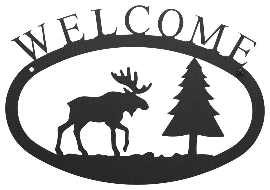 Welcome Sign, Small, Moose And Pine