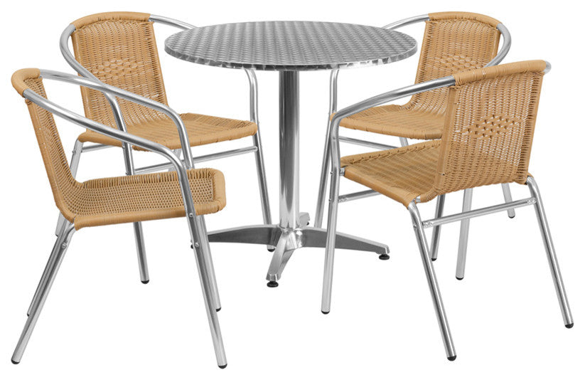31.5'' Round Aluminum Indoor-Outdoor Table Set with 4 Beige Rattan Chairs