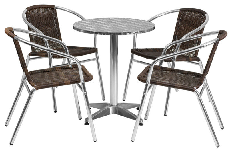 23.5'' Round Aluminum Indoor-Outdoor Table Set with 4 Dark Brown Rattan Chairs