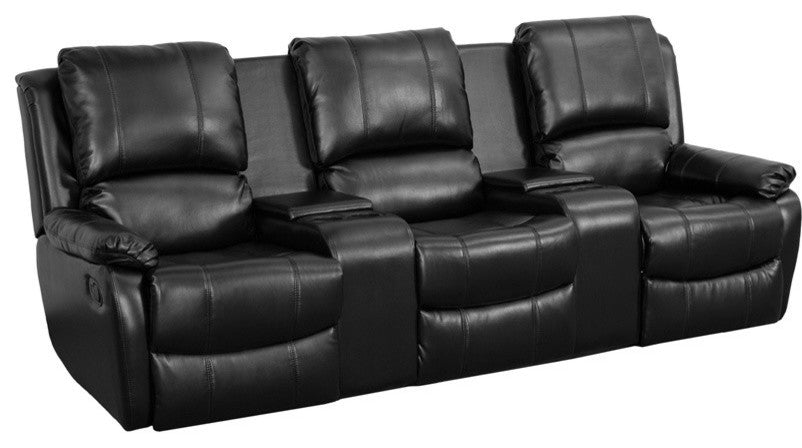 Flash Furniture   Allure Series 3-Seat Reclining Pillow Back Black LeatherSoft Theater Seating Unit with Cup Holders - Pot Racks Plus