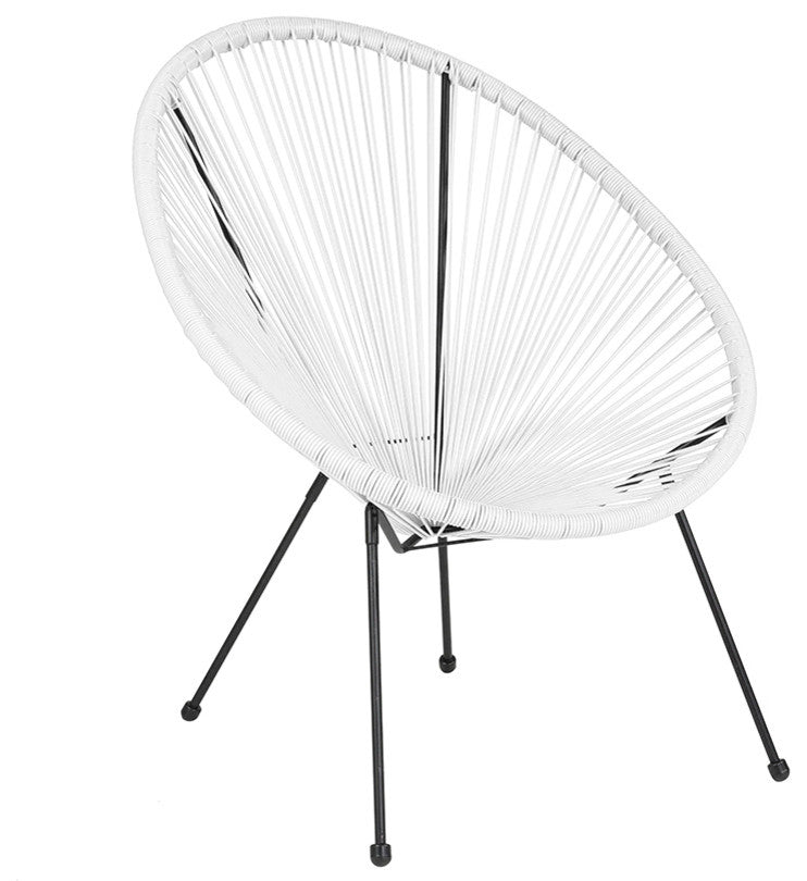 Valencia Oval Comfort Series Take Ten White Rattan Lounge Chair
