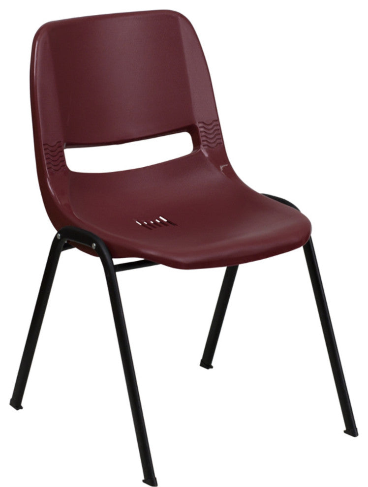 HERCULES Series 880 lb. Capacity Burgundy Ergonomic Shell Stack Chair with Black Frame
