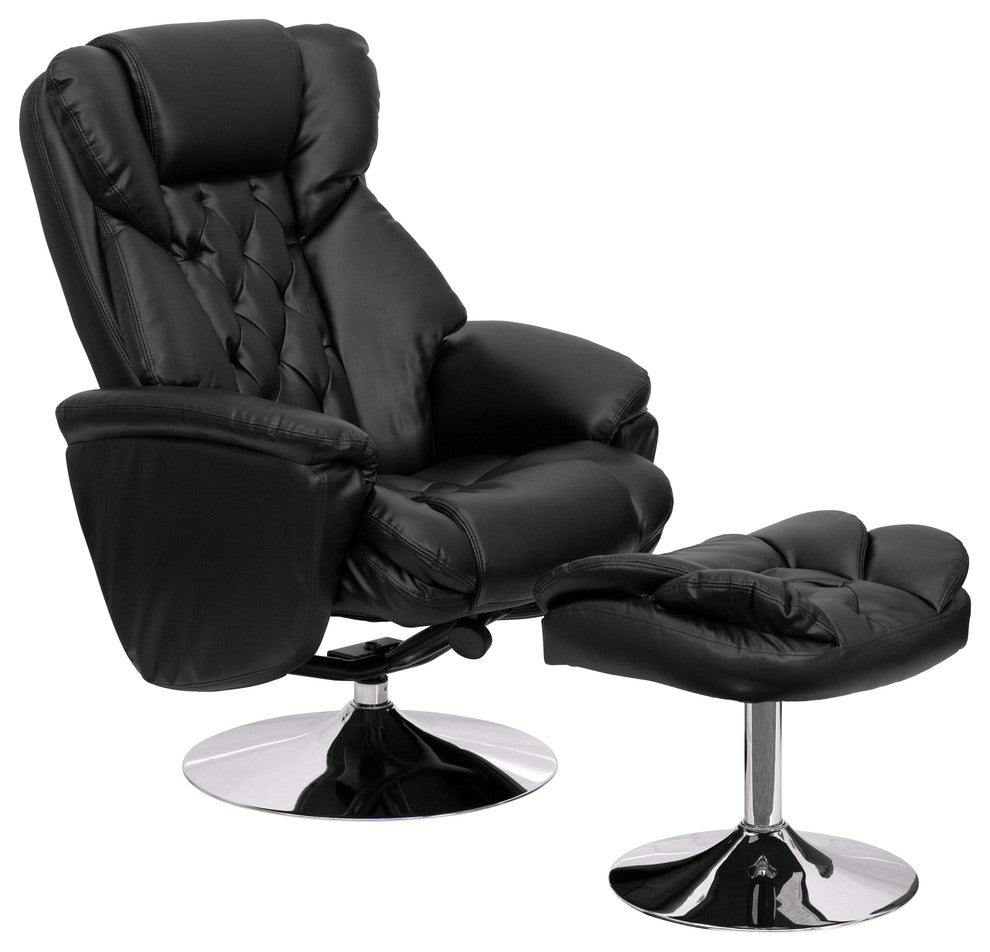 Flash Furniture   Transitional Multi-Position Recliner and Ottoman with Chrome Base in Black LeatherSoft - Pot Racks Plus