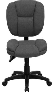Mid-Back Gray Fabric Multifunction Swivel Ergonomic Task Office Chair with Pillow Top Cushioning
