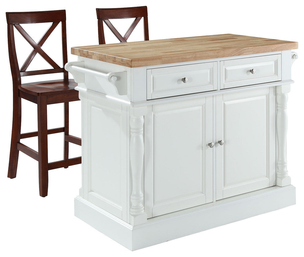 "Butcher Block Top Kitchen Island, White Finish With 24"" Blackx-Back Stools - Pot Racks Plus"