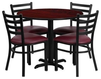 36'' Round Mahogany Laminate Table Set with X-Base and 4 Ladder Back Metal Chairs - Burgundy Vinyl Seat
