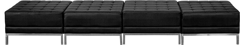 HERCULES Imagination Series Black LeatherSoft Four Seat Bench