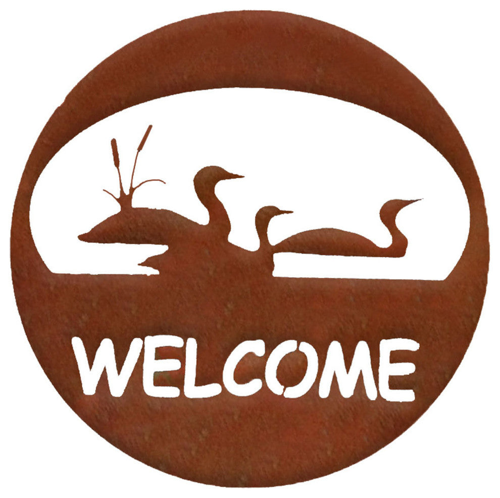 Loon Welcome Circle-Rust Patina - Pot Racks Plus