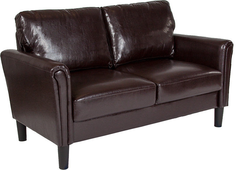 Bari Upholstered Loveseat in Brown LeatherSoft