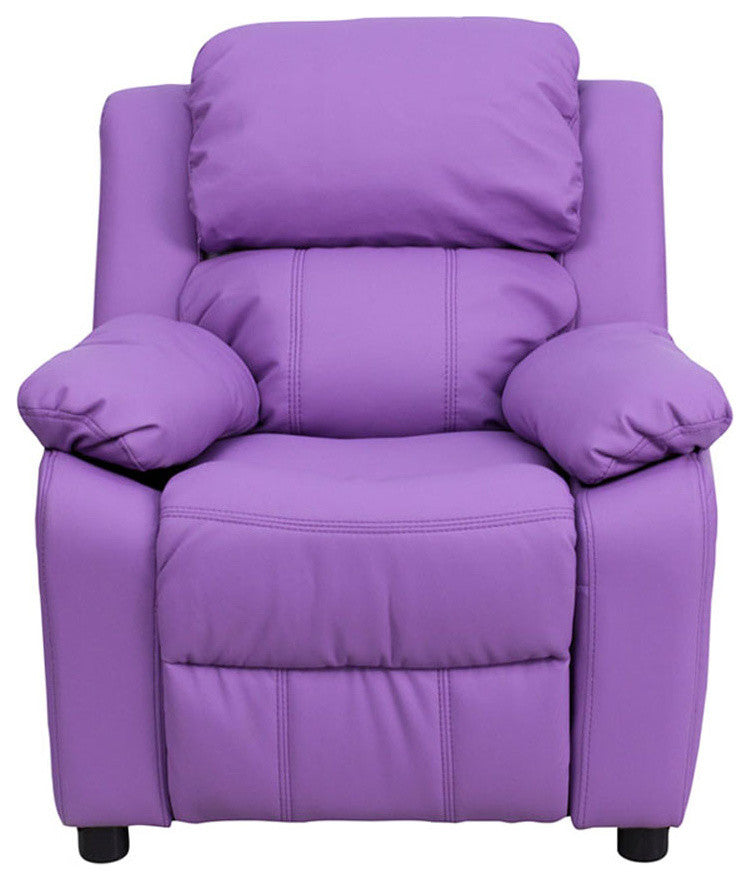 Flash Furniture   Deluxe Padded Contemporary Lavender Vinyl Kids Recliner with Storage Arms - Pot Racks Plus