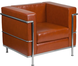 HERCULES Regal Series Contemporary Cognac LeatherSoft Chair with Encasing Frame