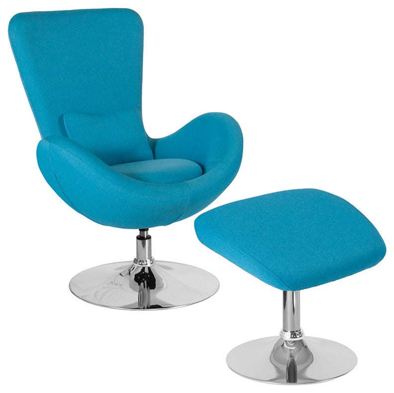 Flash Furniture   Egg Series Aqua Fabric Side Chair with Ottoman - Pot Racks Plus