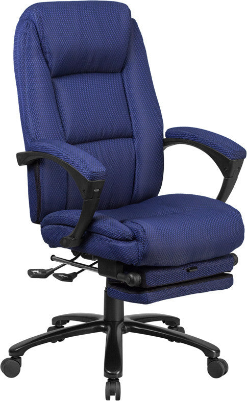 High Back Navy Fabric Executive Reclining Ergonomic Swivel Office Chair with Comfort Coil Seat Springs and Arms