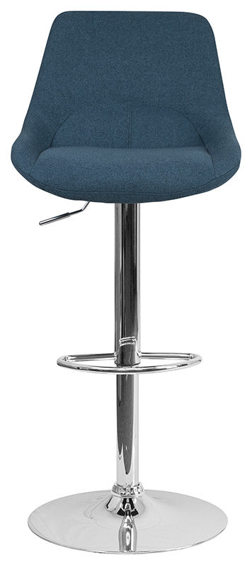Flash Furniture Contemporary Blue Fabric Adjustable Height Barstool with Chrome Base - Pot Racks Plus