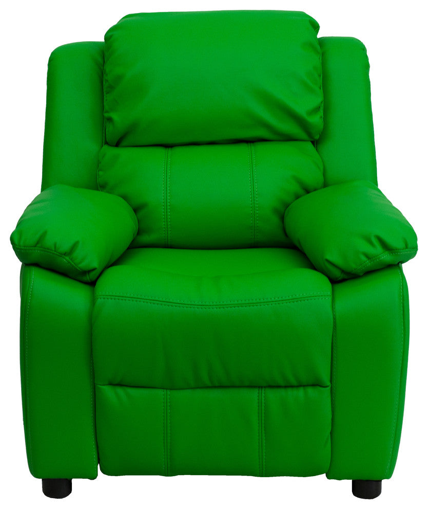 Flash Furniture   Deluxe Padded Contemporary Green Vinyl Kids Recliner with Storage Arms - Pot Racks Plus