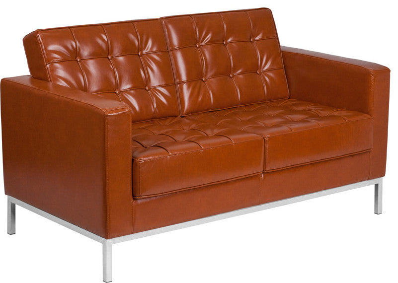 HERCULES Lacey Series Contemporary Cognac LeatherSoft Loveseat with Stainless Steel Frame