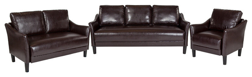 Asti 3 Piece Upholstered Set in Brown LeatherSoft
