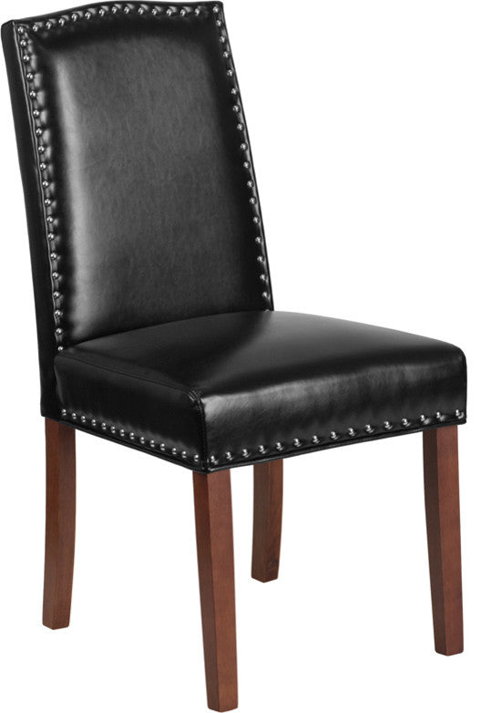 Flash Furniture HERCULES Hampton Hill Series Black LeatherSoft Parsons Chair with Silver Accent Nail Trim - Pot Racks Plus