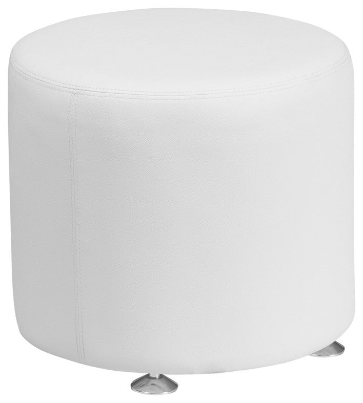 HERCULES Alon Series Melrose White LeatherSoft 18'' Round Ottoman