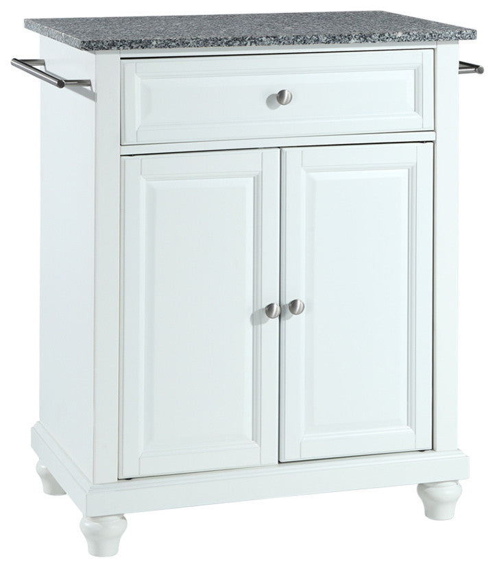 Cambridge Solid Granite Top Portable Kitchen Island, White Finish - Pot Racks Plus