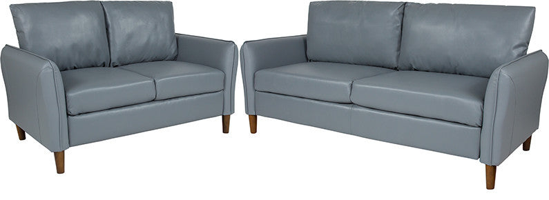 Milton Park Upholstered Plush Pillow Back Loveseat and Sofa Set in Gray LeatherSoft