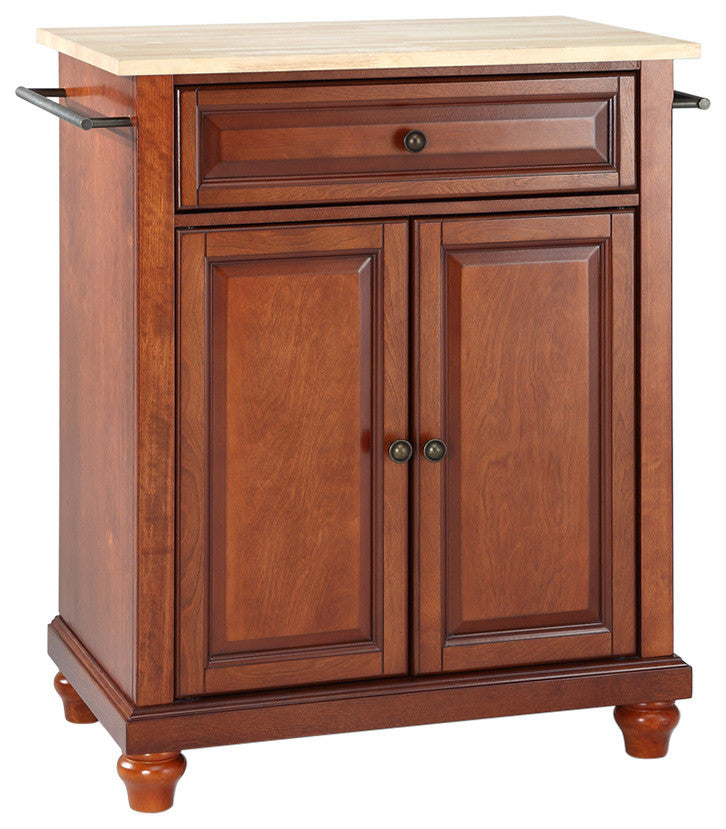 Cambridge Natural Wood Top Portable Kitchen Island, Classic Cherry Finish - Pot Racks Plus