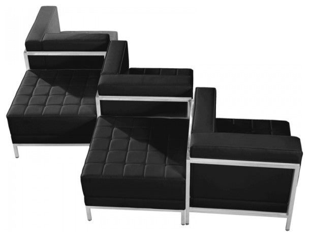 HERCULES Imagination Series Black LeatherSoft 5 Piece Chair & Ottoman Set
