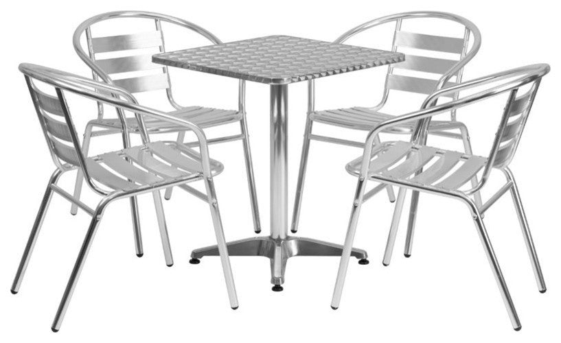 23.5'' Square Aluminum Indoor-Outdoor Table Set with 4 Slat Back Chairs