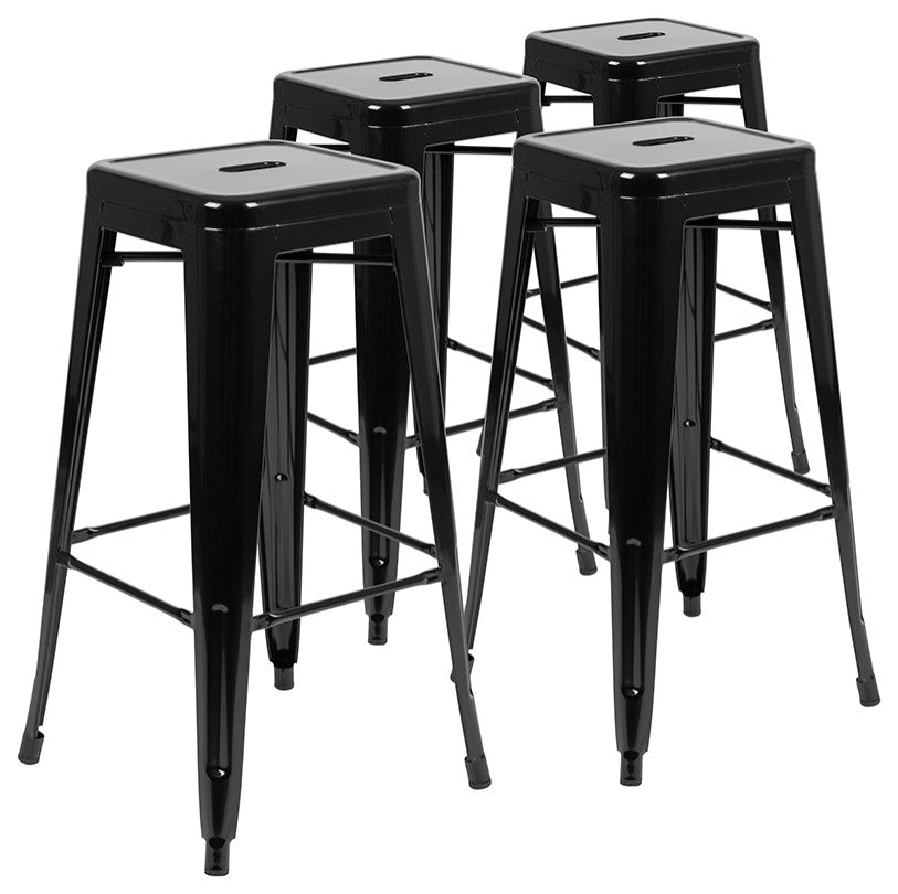 "Flash Furniture  30"" High Metal Indoor Bar Stool in Black - Stackable Set of 4 - Pot Racks Plus"