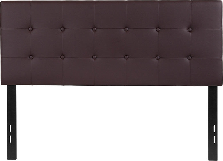 Lennox Tufted Upholstered Full Size Headboard in Brown Vinyl
