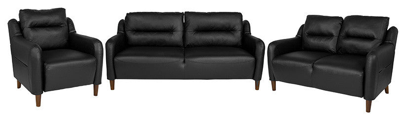 Newton Hill Upholstered Bustle Back Chair, Loveseat and Sofa Set in Black LeatherSoft