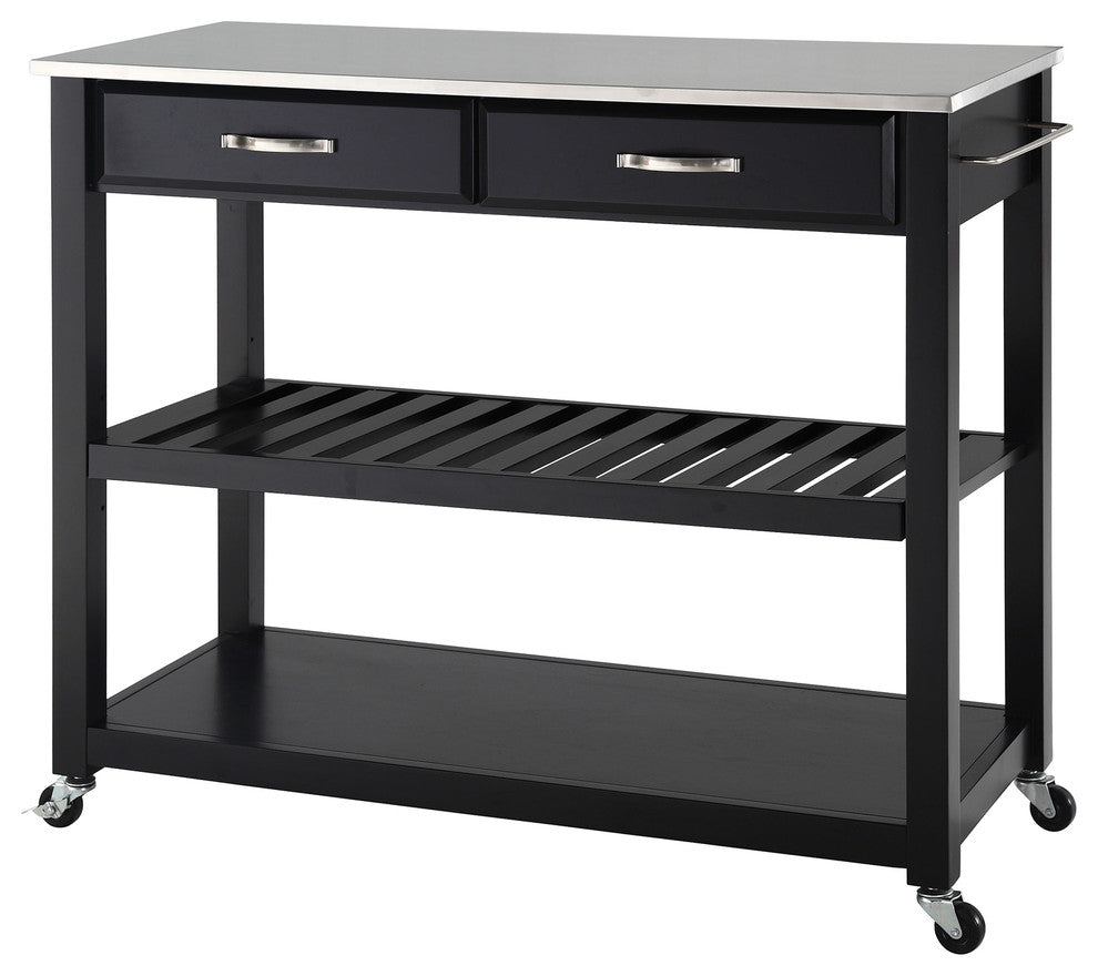 Stainless Steel Top Kitchen Cart, Island With Optional Stool Storage, Black - Pot Racks Plus