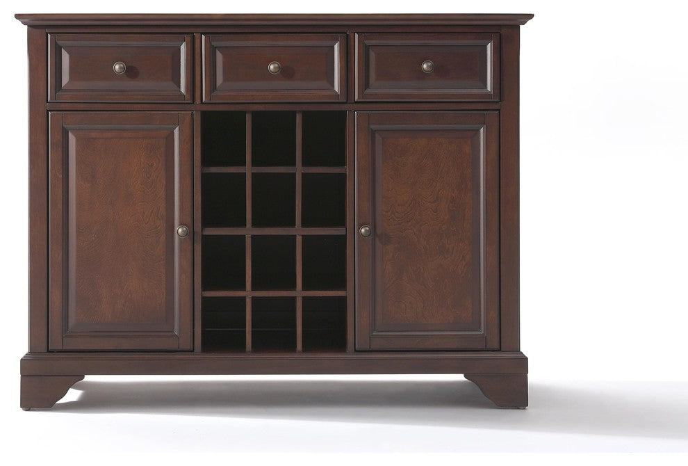 LaFayette Buffet Server-Sideboard Cabinet With Wine Storage, Mahogany - Pot Racks Plus