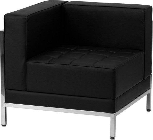 HERCULES Imagination Series Contemporary Black LeatherSoft Left Corner Chair with Encasing Frame