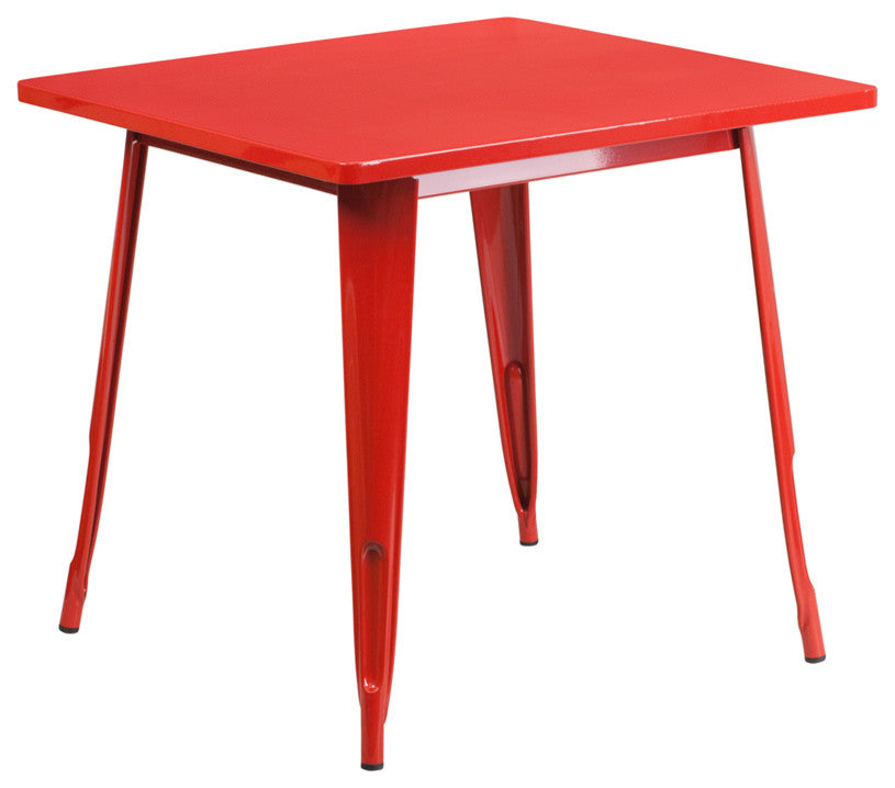 "Commercial Grade 31.5"" Square Red Metal Indoor-Outdoor Table"