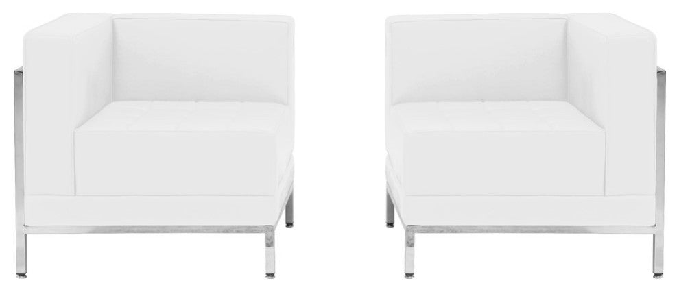 HERCULES Imagination Series Melrose White LeatherSoft 2 Piece Corner Chair Set