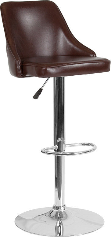 Trieste Contemporary Adjustable Height Barstool in Brown LeatherSoft
