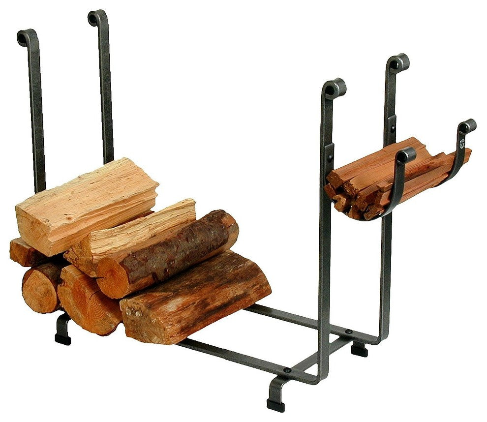 Indoor/Outdoor Large Rectangle Fireplace Log Rack, Hammered Steel - Pot Racks Plus