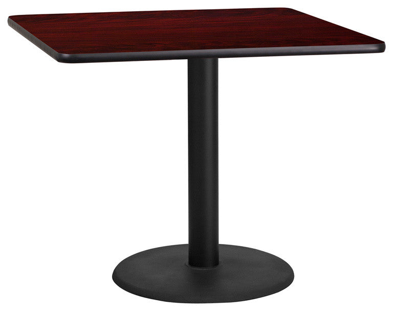 36'' Square Mahogany Laminate Table Top with 24'' Round Table Height Base