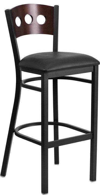 HERCULES Series Black 3 Circle Back Metal Restaurant Barstool - Walnut Wood Back, Black Vinyl Seat