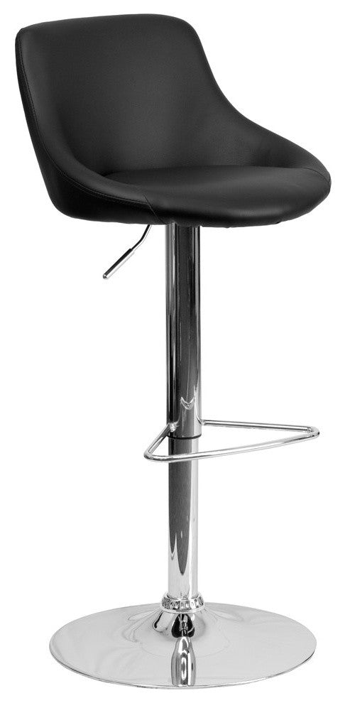 Flash Furniture Contemporary Black Vinyl Bucket Seat Adjustable Height Barstool with Chrome Base - Pot Racks Plus