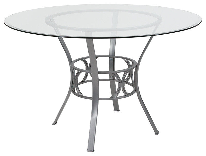 Flash Furniture Carlisle 48'' Round Glass Dining Table with Silver Metal Frame - Pot Racks Plus