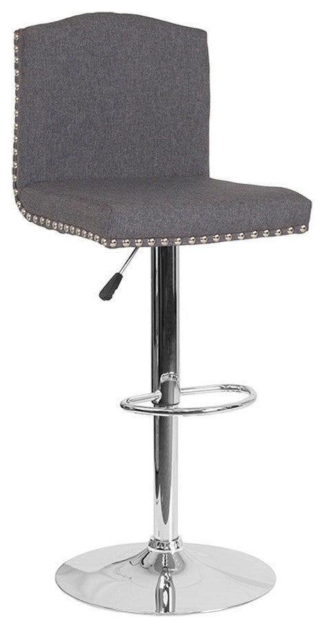 Bellagio Contemporary Adjustable Height Barstool with Accent Nail Trim in Dark Gray Fabric