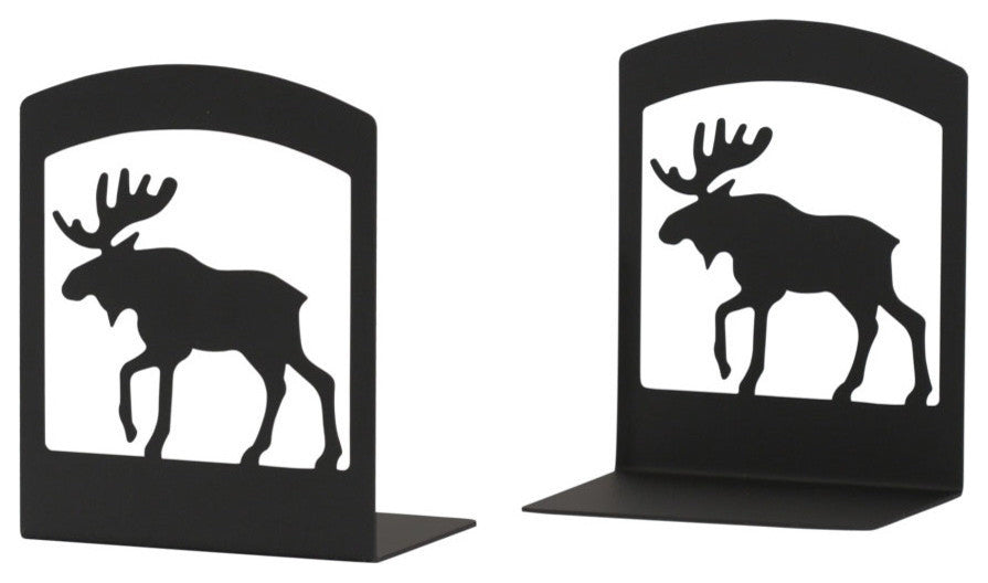 "Wrought Iron Book Ends, 5"" x6 1/4"" x3 1/2"", Moose"
