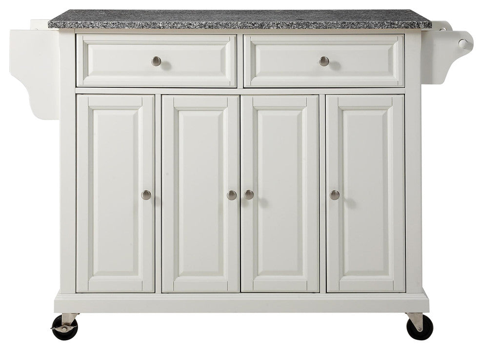 Solid Granite Top Kitchen Cart, Island, White Finish - Pot Racks Plus