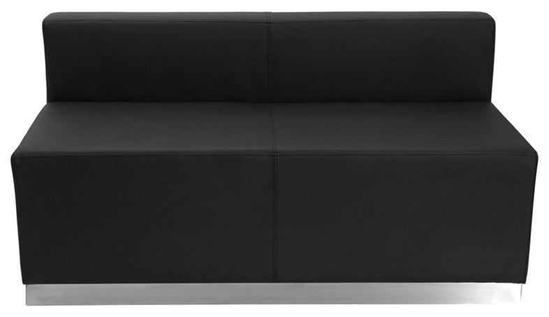 HERCULES Alon Series Black LeatherSoft Loveseat with Brushed Stainless Steel Base